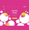 bright landing page template with pink background vector image vector image