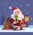 cartoon santa claus with gifts in hands vector image vector image