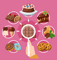 chocolate products choice flat composition vector image