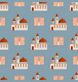 city public buildings houses seamless pattern vector image