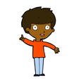 comic cartoon boy with idea vector image vector image
