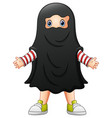 cute kid in a ghost costume vector image