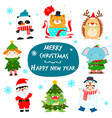 cute kids and animal in christmas character design vector image vector image