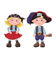cute set children pirates vector image vector image