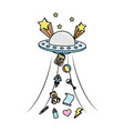 doodle ufo talking away baby toys vector image vector image