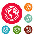 earth icons circle set vector image vector image