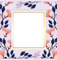 exotic flowers plants with square label vector image vector image