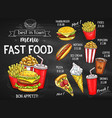 fast food restaurant menu chalkboard design vector image