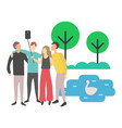 friends taking selfie with help stick nature vector image