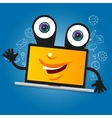 laptop computer big eyes character cartoon smile vector image vector image