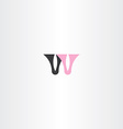 logo w pink black letter w icon design vector image vector image