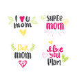 love mother logos set isolated creative hand drawn vector image vector image