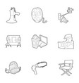 movie icons set outline style vector image