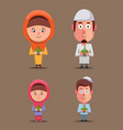 muslim family holding ketupat ramadan celebration vector image vector image