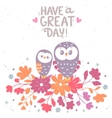 owls and flowers vector image vector image