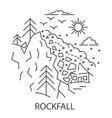 rockfall natural disaster vector image