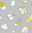 seamless pattern with food and drink vector image vector image