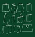 set chalk sketch shopping bag vector image vector image