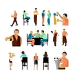 set of beer bar workers and visitor vector image vector image