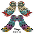 set of colorful wings drawings vector image