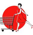Shopping cart checkout girl vector image vector image