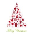 silhouette tree christmas isolated over white back vector image vector image