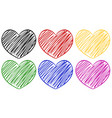 six hearts in different colors vector image vector image
