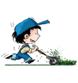 Smiling Boy lawn cutter vector image vector image