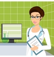 Smiling doctor wearing glasses in the consulting vector image vector image