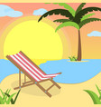 summer background with red white lounger of beach vector image vector image