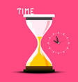 time design with hourglass on pink background vector image vector image