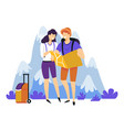tourism hiking couple with backpacks suitcase and vector image vector image
