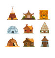 traditional buildings of different countries set vector image vector image