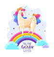 unicorn on rainbow magic vector image vector image