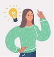 woman having an idea with light bulb over her head vector image vector image