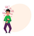 young man laughing out loud crying from laughter vector image vector image