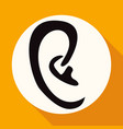 icon ear on white circle with a long shadow vector image