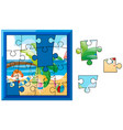 jigsaw game with blue board vector image
