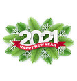 2021 numbers on christmas tree branches vector image vector image