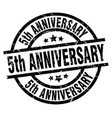 5th anniversary round grunge black stamp vector image vector image