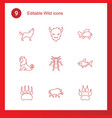 9 wild icons vector image vector image