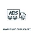 advertising on trasport icon symbol creative sign vector image vector image