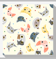 Animal seamless pattern collection with cat 1 vector image vector image
