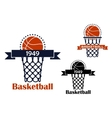 Basketball sport game emblem or symbol vector image vector image