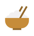 bowl of rice and chopstick food and gastronomy vector image vector image