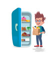 boy holding the paper bags full of food in front vector image vector image
