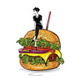 burger with stylish girl in sketch style on vector image
