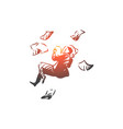business space paper man fly concept vector image vector image