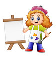 cartoon girl painting vector image