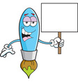 Cartoon paint brush holding a sign vector image vector image